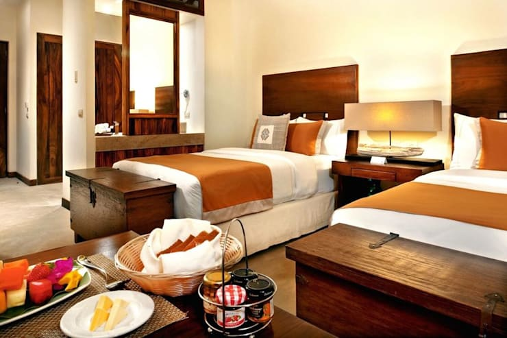 Hotel Matlali Selva: Recámaras de estilo  por BR  ARQUITECTOS