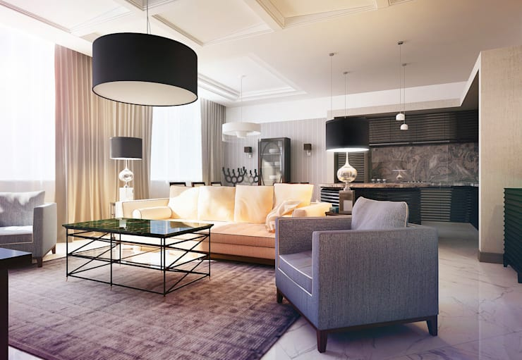 Apartment in Moscow: Гостиная в . Автор – KAPRANDESIGN