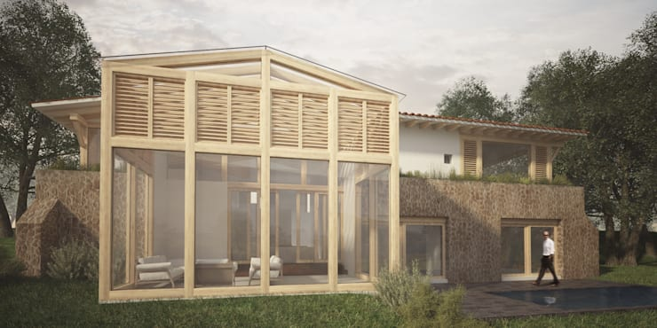 Fachada Trasera: Casas de estilo  por JR Arquitectos
