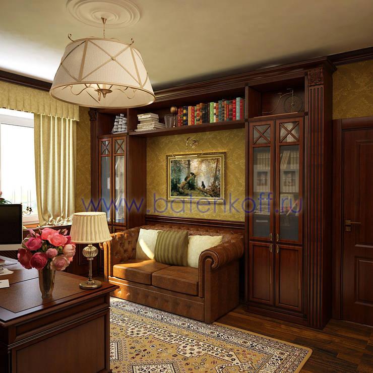 Дизайн проект кабинета из дерева в классическом стиле: Рабочие кабинеты в . Автор – Дизайн студия 'Дизайнер интерьера № 1',