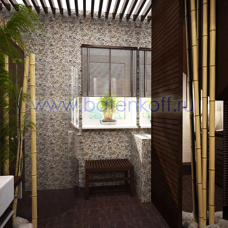 Дизайн проект ванной комнаты в индокитайском стиле: Ванные комнаты в . Автор – Дизайн студия 'Дизайнер интерьера № 1',