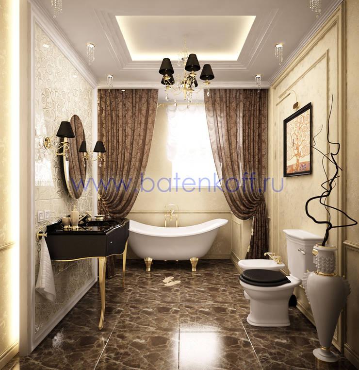 Дизайн проект ванной комнаты в классическом стиле : Ванные комнаты в . Автор – Дизайн студия 'Дизайнер интерьера № 1',