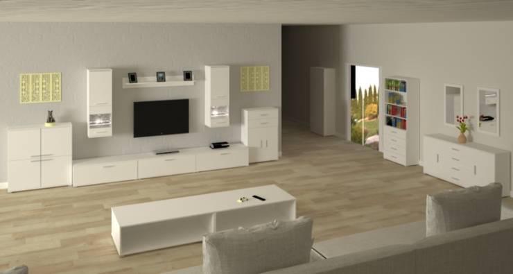 """Meble """"Salon w Bieli"""": styl , w kategorii Salon zaprojektowany przez onemarket.pl"""