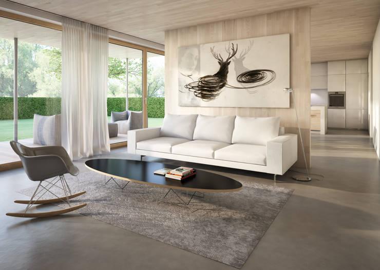 EFH bei München: skandinavische Wohnzimmer von winhard 3D