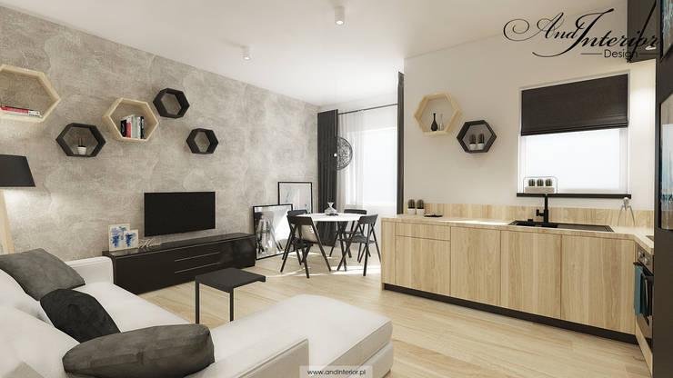 Projekt wnętrza kawalerki na wynajem: styl , w kategorii Jadalnia zaprojektowany przez And Interior Design