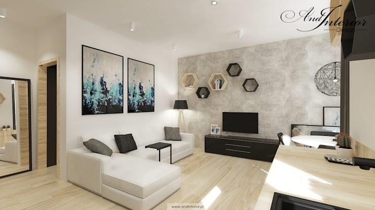 Projekt wnętrza kawalerki na wynajem: styl , w kategorii Salon zaprojektowany przez And Interior Design