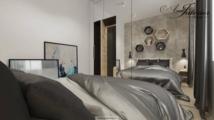 Projekt wnętrza kawalerki na wynajem: styl , w kategorii Sypialnia zaprojektowany przez And Interior Design