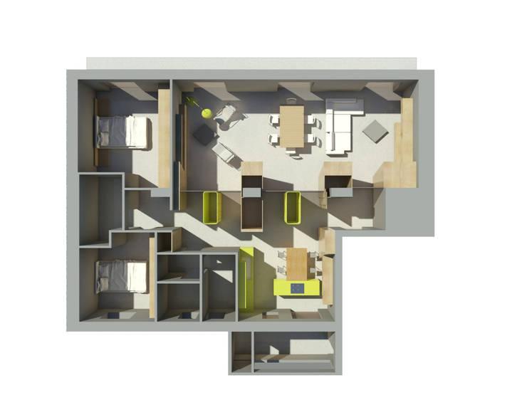 Progetto architettonico - Vista zenitale - rendering: Case in stile in stile Moderno di Bureau69 d'Architettura