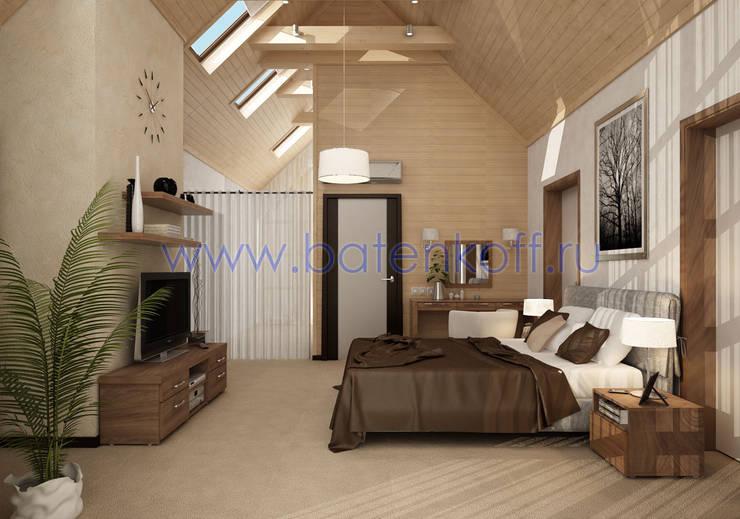 Дизайн спальной комнаты в доме из бруса: Спальни в . Автор – Дизайн студия 'Дизайнер интерьера № 1',