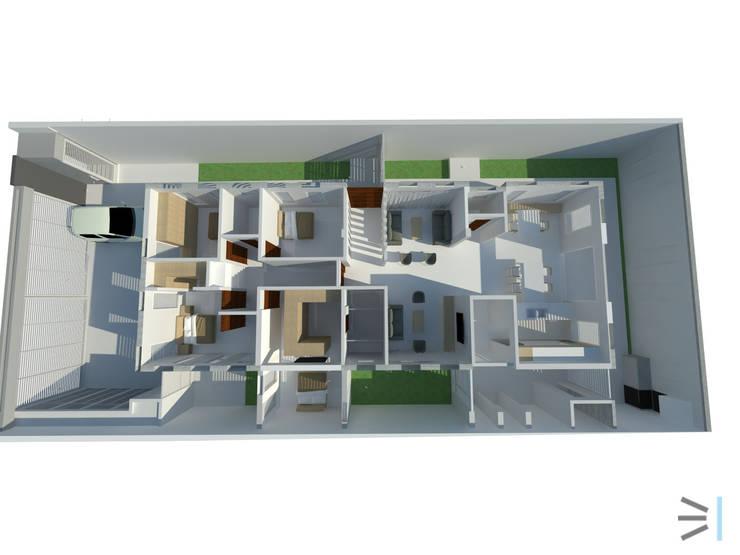 Planta 3D:  de estilo  por Tres en uno design