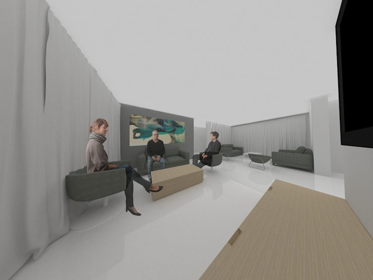 Sala de TV:  de estilo  por Tres en uno design