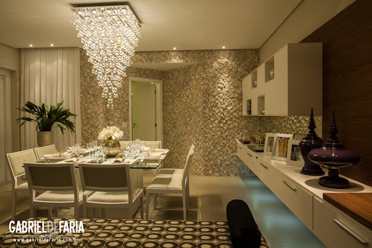Sala de Jantar – ED. ÚNICO CAMPOLIM / Sorocaba: Salas de jantar  por Andréa Carvalho Arquitetos Associados,