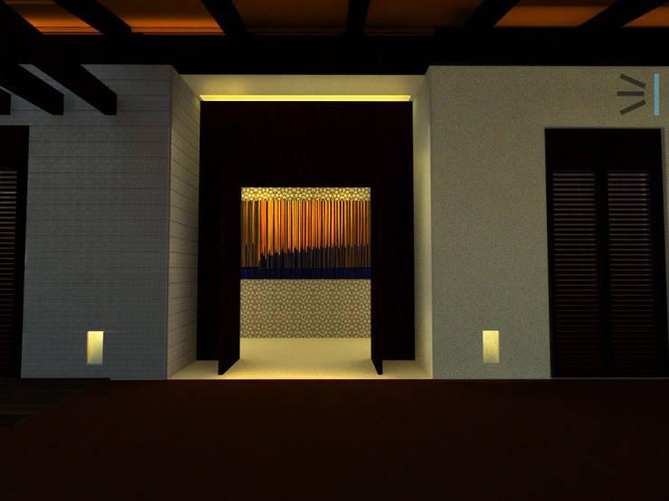 Acceso a Habitación principal:  de estilo  por Tres en uno design