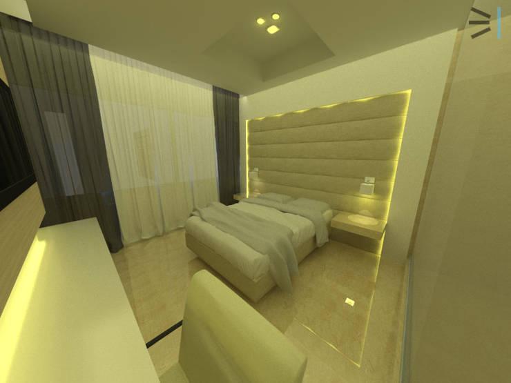 Habitación 02:  de estilo  por Tres en uno design