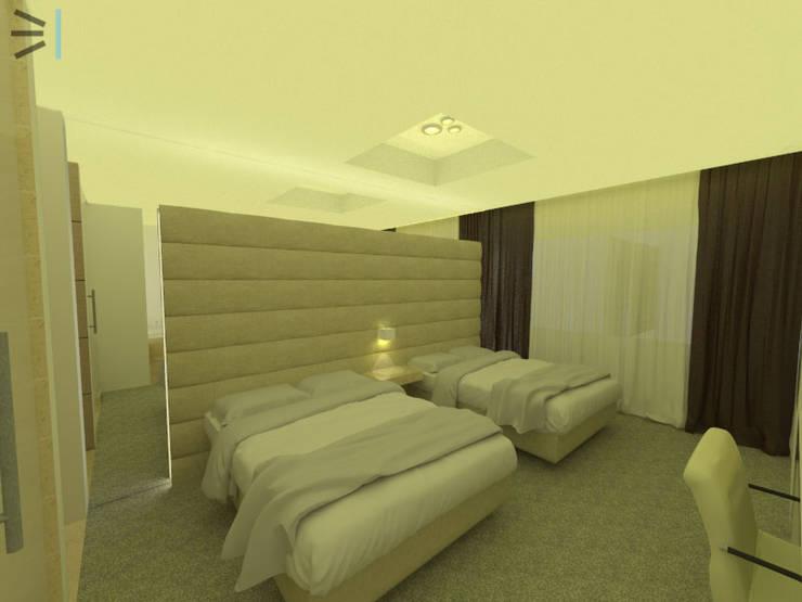 Habitación 03:  de estilo  por Tres en uno design