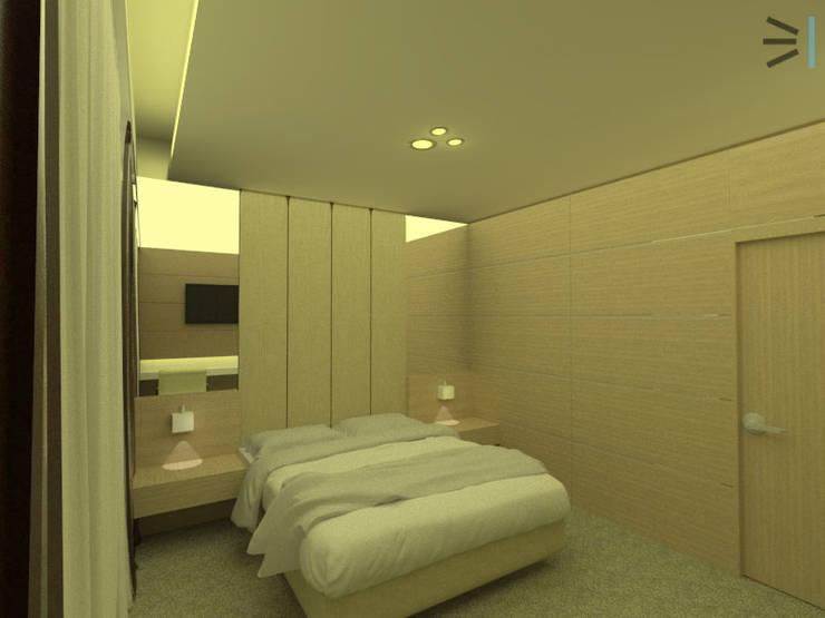 Habitación 04:  de estilo  por Tres en uno design