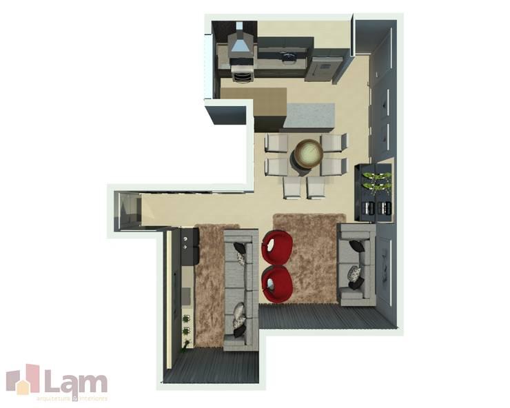 Vista Superior da Sala - Projeto:   por LAM Arquitetura | Interiores