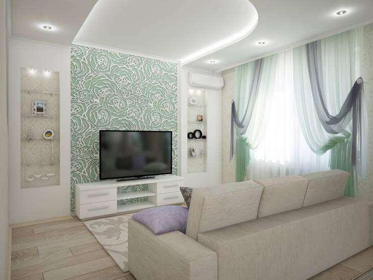 Дизайн-проект трехкомнатной квартиры 105 м2_ 2015г: Гостиная в . Автор – Artstyle