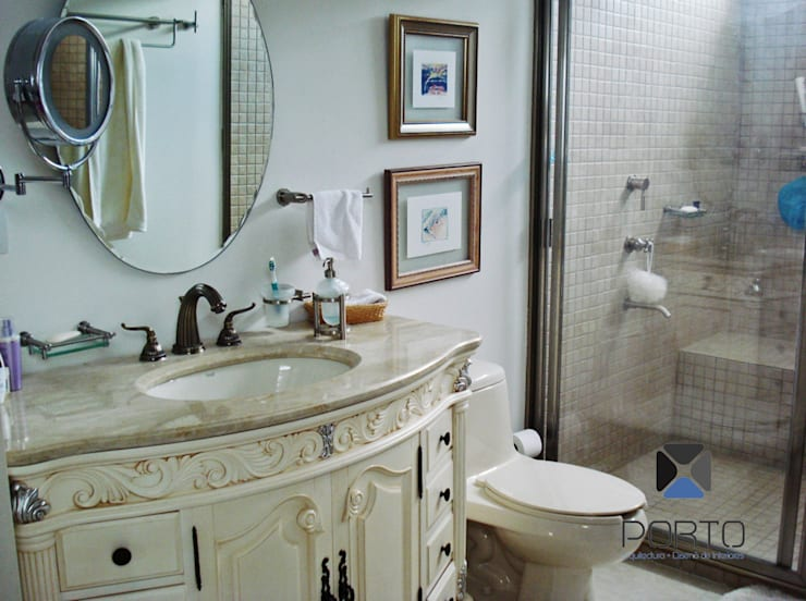 """proyecto residencial """"SR01"""" : Baños de estilo  por PORTO Arquitectura + Diseño de Interiores"""