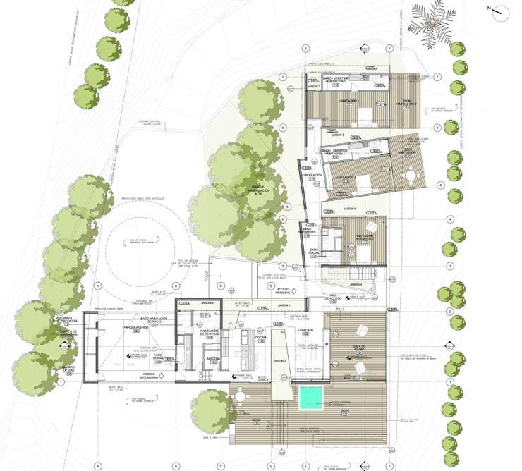 Planta nivel 1: Casas de estilo  por PLANTA BAJA ESTUDIO DE ARQUITECTURA