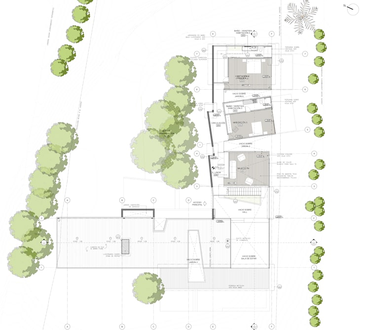 Planta nivel 2: Casas de estilo  por PLANTA BAJA ESTUDIO DE ARQUITECTURA