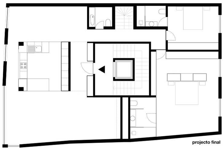 planta do apartamento depois da remodelação: Casas  por feedback-studio arquitectos
