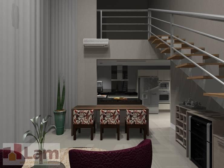 Sala de Estar - Projeto:   por LAM Arquitetura | Interiores