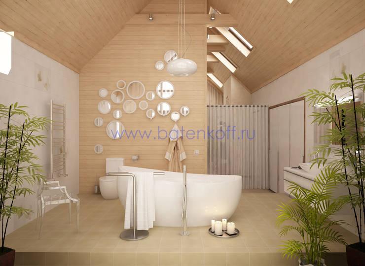 Дизайн проект ванной комнаты в доме из бруса: Ванные комнаты в . Автор – Дизайн студия 'Дизайнер интерьера № 1'