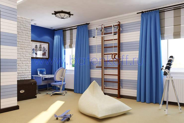 Дизайн проект детской комнаты в морском стиле в особняке : Детские комнаты в . Автор – Дизайн студия 'Дизайнер интерьера № 1'