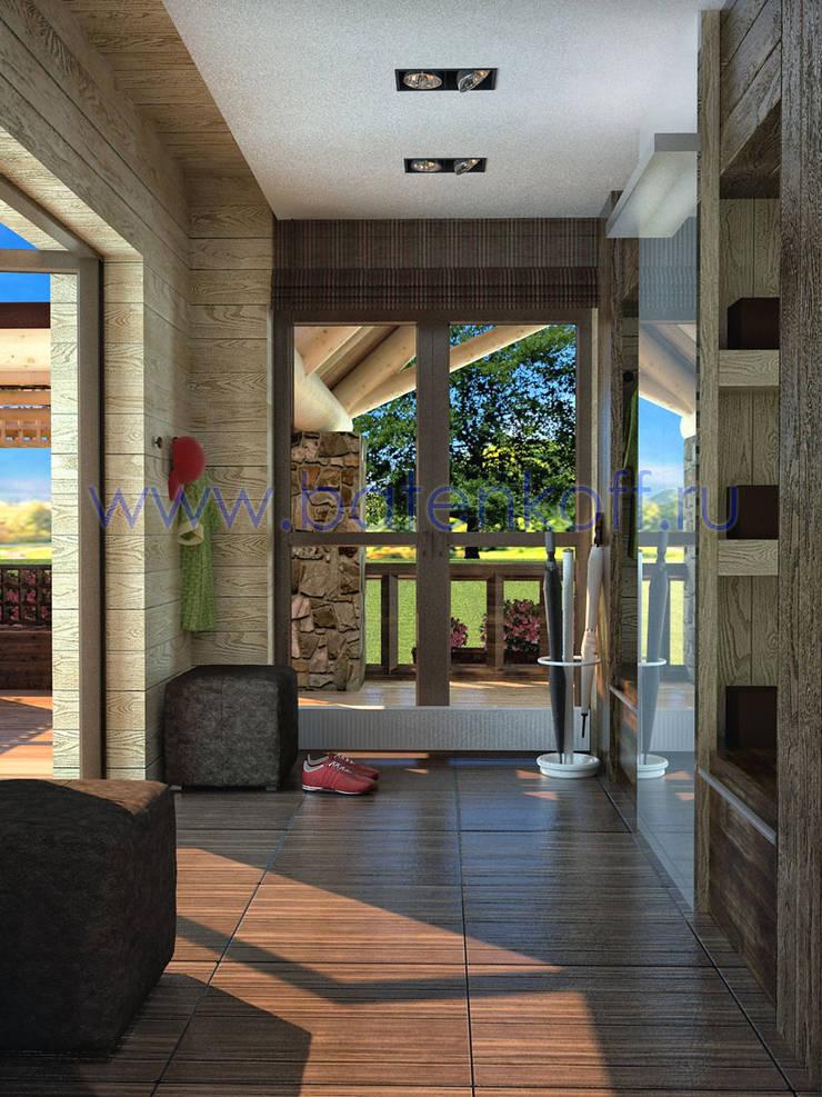 Дизайн прихожей в деревянном доме: Коридор и прихожая в . Автор – Дизайн студия 'Дизайнер интерьера № 1'