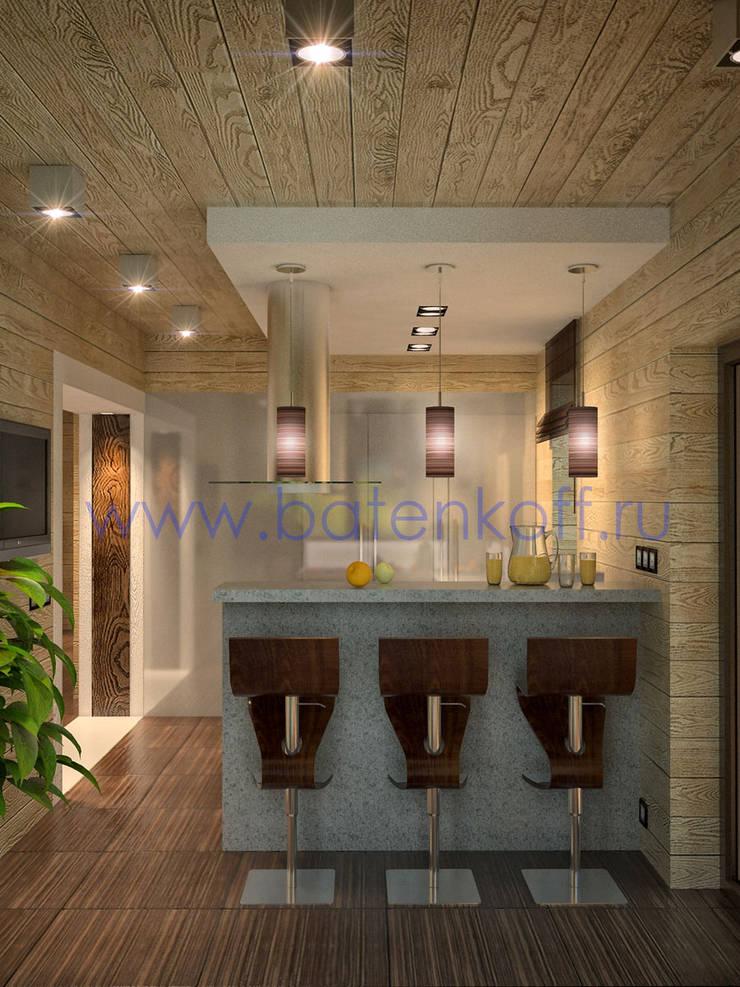 Дизайн проект кухни в доме из бруса: Кухни в . Автор – Дизайн студия 'Дизайнер интерьера № 1'