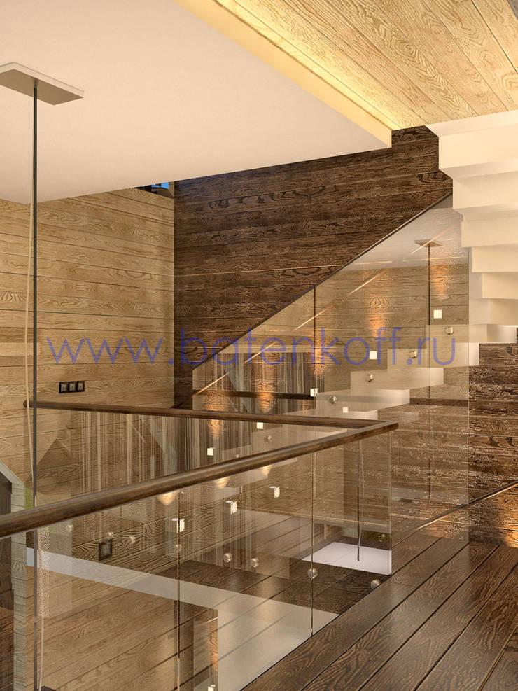 Дизайн проект коридора в коттедже из бруса: Коридор и прихожая в . Автор – Дизайн студия 'Дизайнер интерьера № 1'