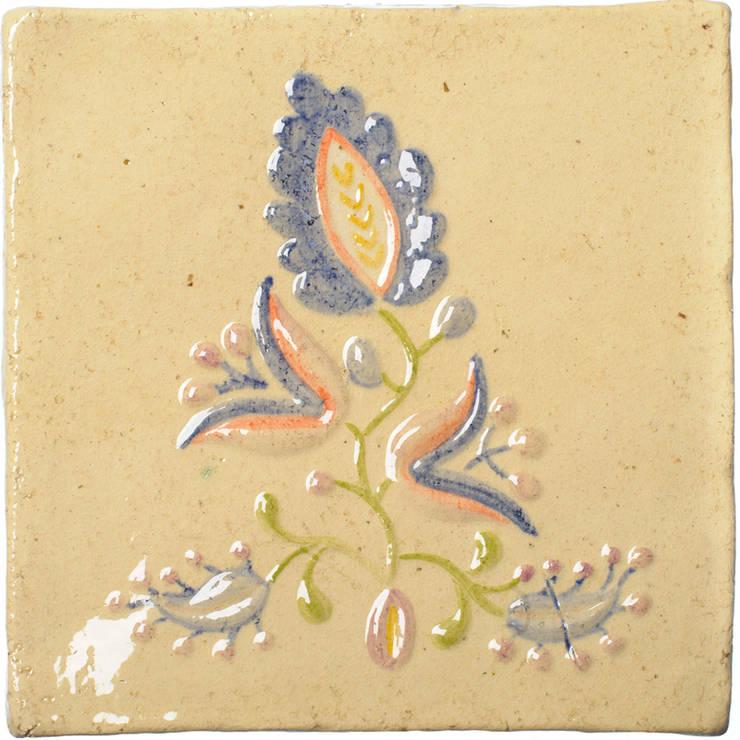 motyw haftu lipnickiego na ręcznie wykonanym kaflu ceramicznym. 20 cm x 20 cm, grubość 4-5 mm: styl , w kategorii Ściany i podłogi zaprojektowany przez unikatowe kafelki