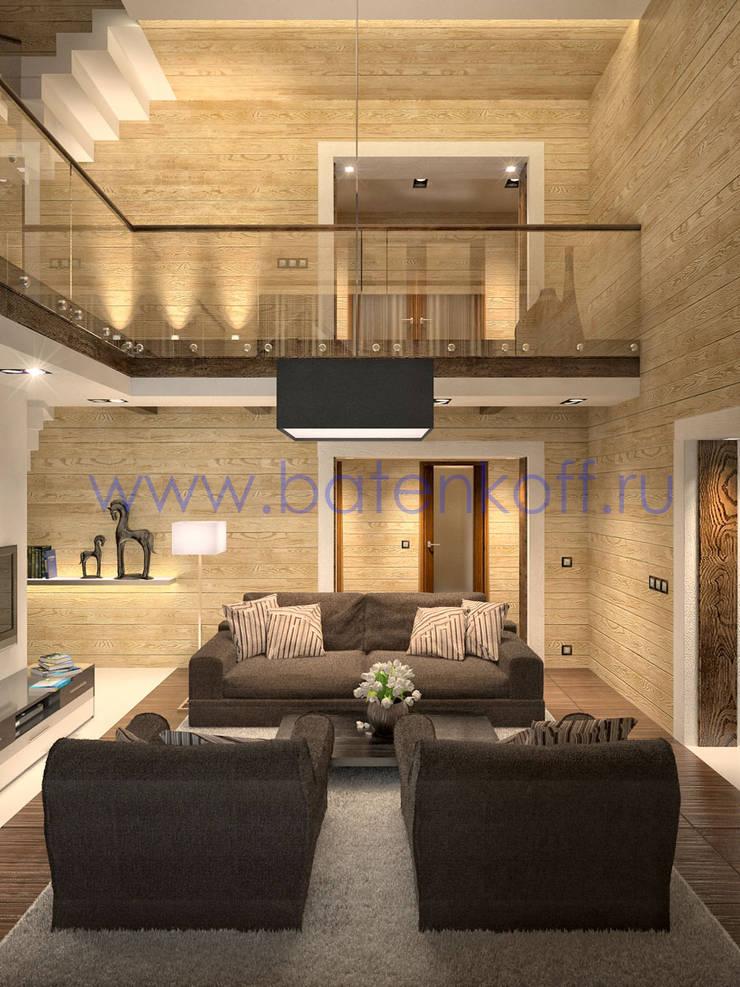 Дизайн проект столовой, гостиной со вторым светом в доме из бруса: Гостиная в . Автор – Дизайн студия 'Дизайнер интерьера № 1',