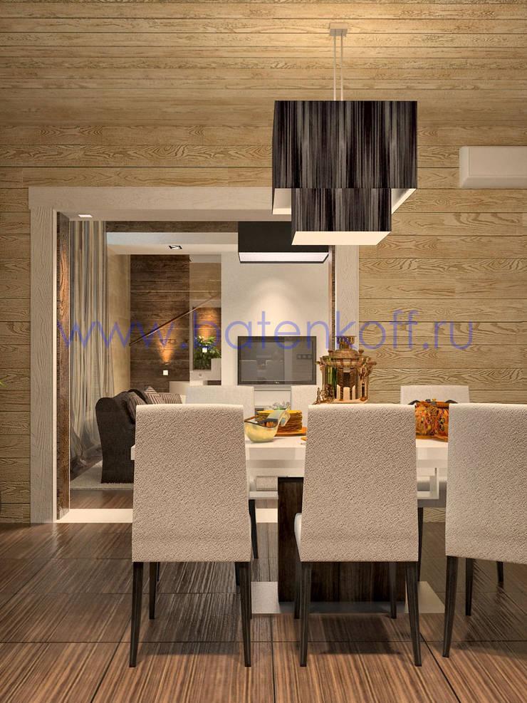 Дизайн проект столовой, гостиной со вторым светом в доме из бруса: Кухни в . Автор – Дизайн студия 'Дизайнер интерьера № 1',
