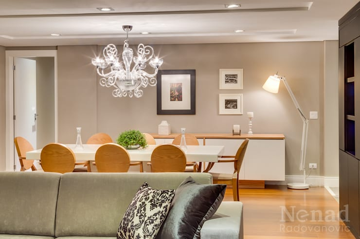 Estar e Jantar: Salas de jantar  por Claudia Guerios Arquitetura e Interiores,
