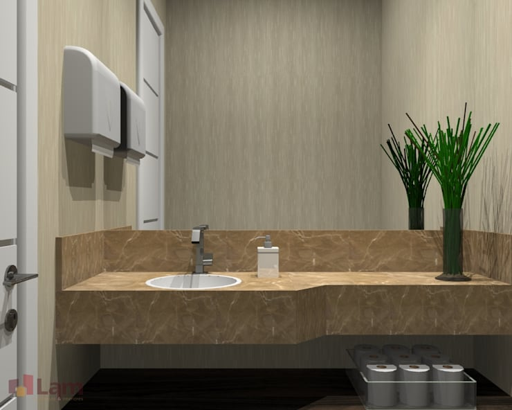 Lavabo - Projeto:   por LAM Arquitetura | Interiores