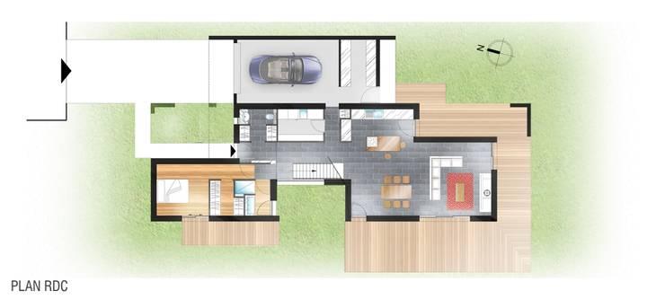 Construction d'une maison individuelle, Pleumeleuc, Ille-et-Vilaine:  de style  par bAAt architecture