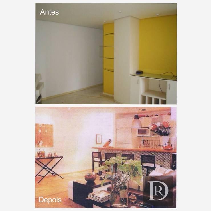 LOFT   Living e Cozinha integrados:   por Debora de Rezende   arquitetura e interiores