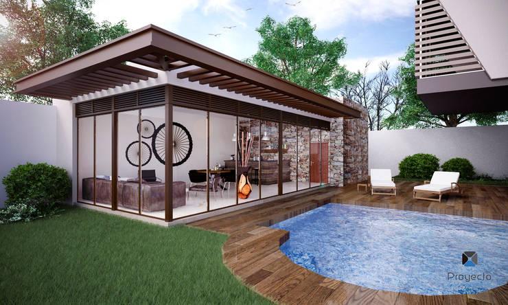 "Proyecto Arquitectónico "" Casa XC03""       : Albercas de estilo moderno por PORTO Arquitectura + Diseño de Interiores"