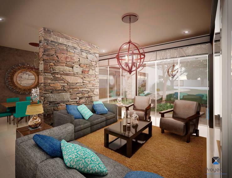 """Proyecto Arquitectónico """" Casa XC03""""       : Salas de estilo  por PORTO Arquitectura + Diseño de Interiores"""