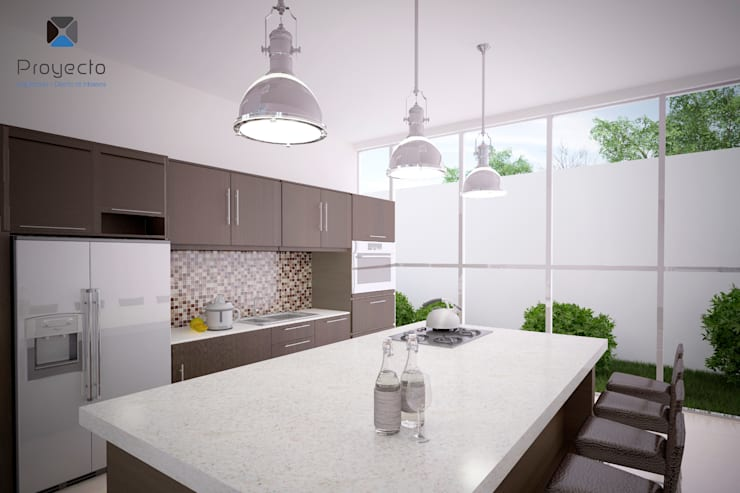 Proyecto Arquitectónico <q> Casa XC03</q>       : Cocinas de estilo  por PORTO Arquitectura + Diseño de Interiores