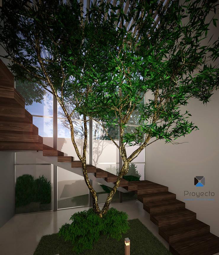 Proyecto Arquitectónico <q> Casa XC03</q>       : Pasillos y recibidores de estilo  por PORTO Arquitectura + Diseño de Interiores