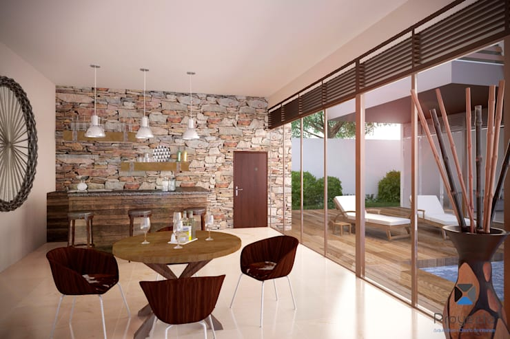 Proyecto Arquitectónico <q> Casa XC03</q>       : Salas de estilo  por PORTO Arquitectura + Diseño de Interiores