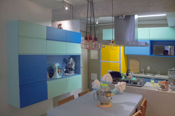 Sala de jantar e cozinha - ap caldo: Salas de jantar  por omnibus arquitetura