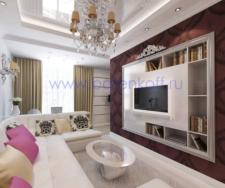 Дизайн проект гостиной  для девушки.: Гостиная в . Автор – Дизайн студия 'Дизайнер интерьера № 1'