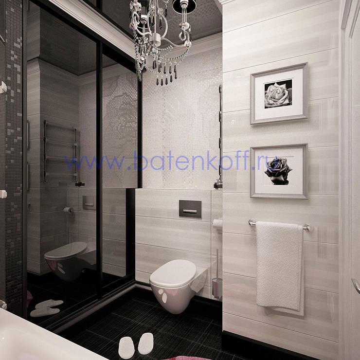 Дизайн проект ванной в черно белом цвете: Ванные комнаты в . Автор – Дизайн студия 'Дизайнер интерьера № 1',