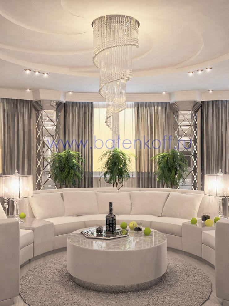 Дизайн проект белой гостиной в ардеко: Гостиная в . Автор – Дизайн студия 'Дизайнер интерьера № 1',