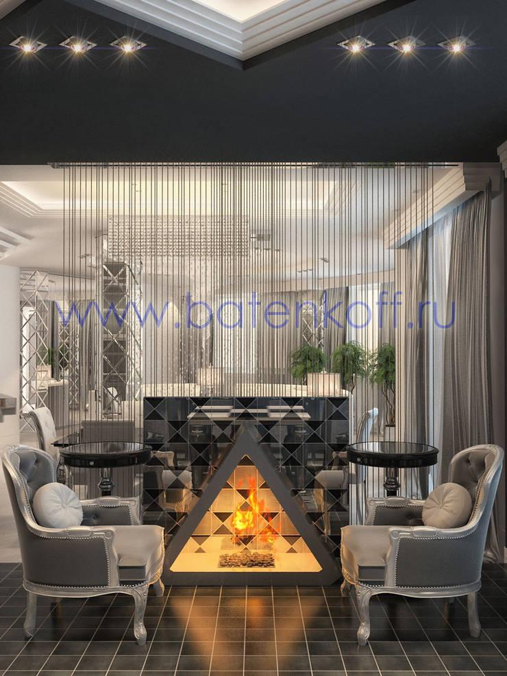Дизайн проект кухни столовой с биокамином в стиле ардеко: Зимние сады в . Автор – Дизайн студия 'Дизайнер интерьера № 1'