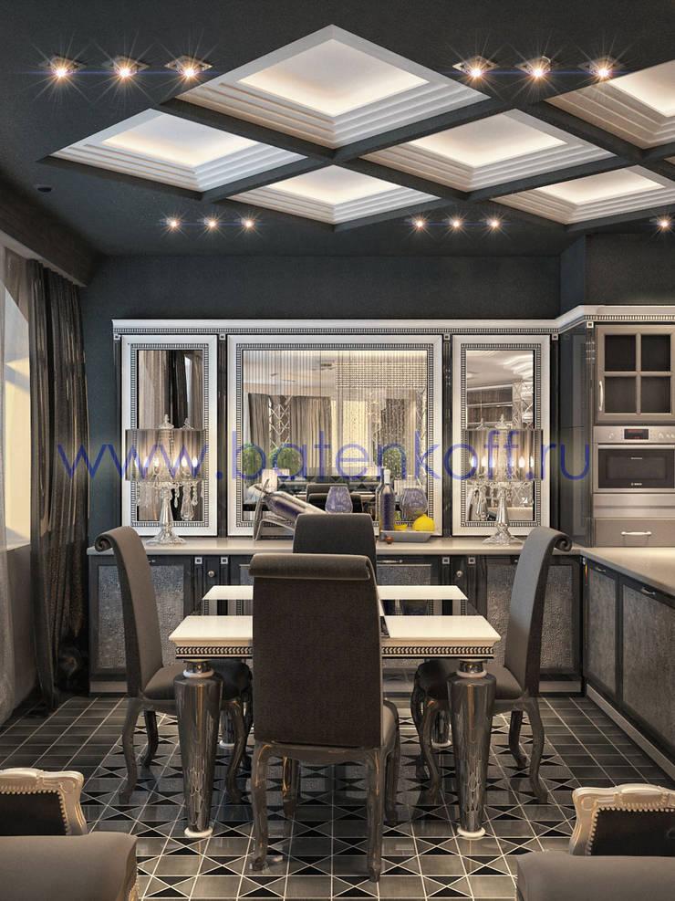 Дизайн проект кухни столовой с биокамином в стиле ардеко: Кухни в . Автор – Дизайн студия 'Дизайнер интерьера № 1'